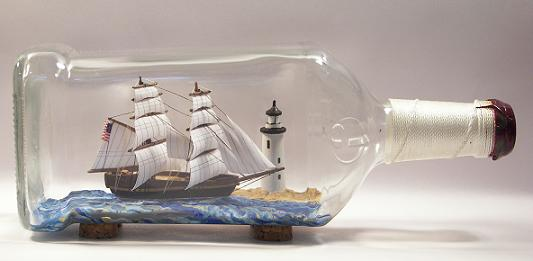 Image result for wooden ship in bottle