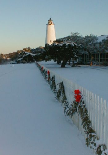 Ocracoke Lighthouse Snow